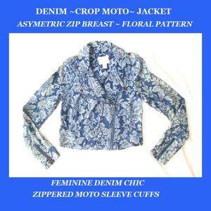 Vintage Denim MOTO CROP Jacket - Floral Pattern